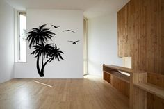 Tropical Palm Trees and Sea Gulls Vinyl Wall Decal Sticker Graphic