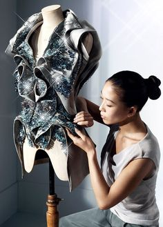 Yiqing Yin and one of her designs. Loving the jacket!