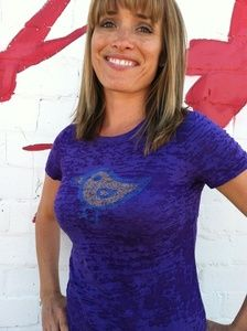 Birdy design by Think Positive Apparel. Design made out of tiny little positive affirmations. Love the color!