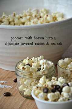 Popcorn with brown butter, chocolate covered raisins and sea salt. It's SO addictive and my favorite snack for movie night! www.mountainmamacooks.com