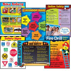 Safety Learning Charts (Bike and Bus Safety, Classroom Rules, Safety Signs, Online Safety, and Fire Drill Safety)