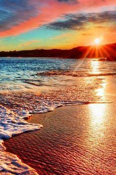 Red Sand beach at sunset Beautiful Sunrise, Beautiful Beaches, Landscape Photography, Nature Photography, Photography Ideas, Sea And Ocean, Beach Scenes, Nature Scenes, Insta Photo
