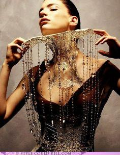 Cascading neckwear - fantasy character wardrobe inspiration