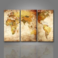 3 panel vintage world map canvas painting oil painting print on traditional world map 3 pieces wall painting canvas print gumiabroncs Image collections