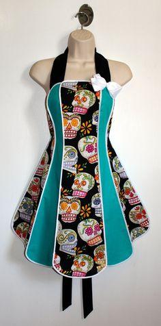 Vintage inspired Halloween apron - Calaveras stylist / kitchen apron by XO Skeleton Creations via Etsy