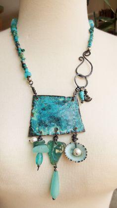 boho necklace, Boho copper amulet, peruvian opals, turqoise, patina, hammered, ancient roman glass, perls, gems, unique bohemian necklace, tribal, primitive art jewelry, turqoise, türkis
