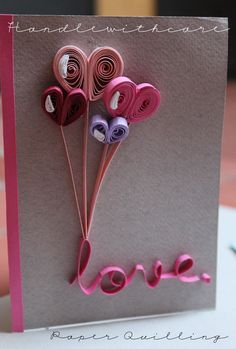 13 Love Quilling Card Want to add a little brio to your Valentine's Day cards? Learn how to cycle a few quilling shapes – hearts, teardrops and petals, for starters – to back Quilling Birthday Cards, Paper Quilling Cards, Quilling Letters, Paper Quilling Patterns, Quilled Paper Art, Quilling Paper Craft, Paper Quilling Tutorial, Quilling Ideas, Valentines Bricolage