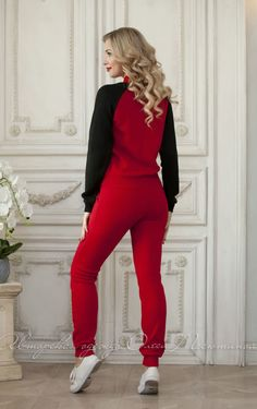 Knitted woman coloured trouser suits by Olesya Masyutina. women tracksuit, red and black suit, sport style suit, zipper jacket, pants set suit, jogging suits. 800 models of knitted and fabric women clothes in casual style, evening and wedding
