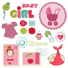 Illustration about Scrapbook Baby shower Girl Set - design elements. Illustration of decoration, birthday, card - 22204034 Deco Baby Shower, Girl Shower, Baby Shower Themes, Free Printable Cards, Printable Stickers, Planner Stickers, Printables, Scrapbook Bebe, Baby Stickers