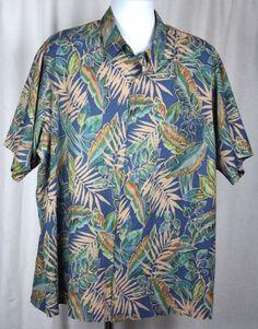 Tori Richard Mens Aloha Hawaiian Batik Style Palm Leaves Blue Shirt Size 2XLB #ToriRichard #Hawaiian