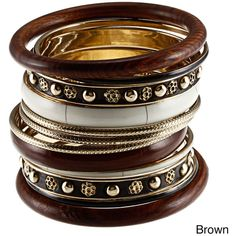 Set of 12 Brass and Wood Brown Bijoux Bangles (India) found on Polyvore
