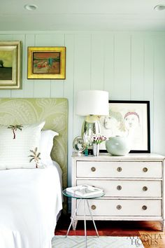 I love the combo of modern and vintage. Wall color is Benjamin Moore Palladian Blue. By Atlanta designer John Oetgen