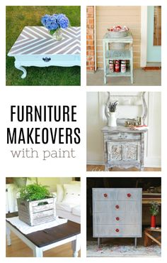Nothing can spruce up old furniture like a can of paint! These furniture makeovers with paint are a great example of the power of a little lacquer. Painted Furniture For Sale, Old Furniture, Unique Furniture, Furniture Makeover, Furniture Decor, Furniture Inspiration, Diy Painting, Mason Jars, Sweet Home