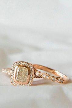 18 Rose Gold Engagement Rings That Melt Your Heart ❤ See more: http://www.weddingforward.com/rose-gold-engagement-rings/ #wedding #engagement #rings