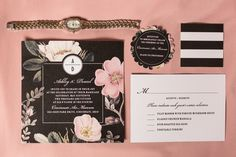 Black Wedding Invitations With Floral Design