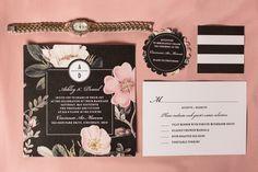 Black Wedding Invitations With Floral Design