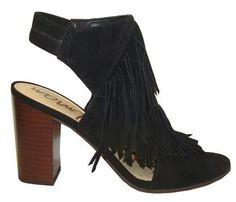 "Sam Edelman ""Elaine"" Black Suede Leather Bootie With Fringe & Peep Toe"