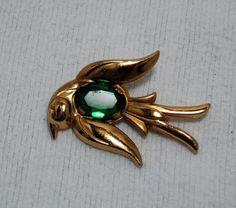 Vintage 40's Coro Golden Bird with Green Rhinestone Body Pin back ships free #Coro
