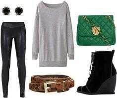 Grey shirt, black pants, leopard belt, green purse, black earrings, ankle boots