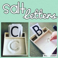 Salt Letters {This one may have been too advanced for Bree....haha She just wanted to play in the salt instead  This is a good one to try again later though!!} #toddlerlearning #toddleractivity #toddleractivities #toddlerletters #toddlerfun #toddlerplay