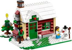 LEGO® Creator Changing Seasons 31038 pieces) - The Changing Seasons summer cottage features a pool, barbecue, light brick and 2 minifigures, and rebuilds into an autumn or winter cottage. Lego Christmas Village, Lego Winter Village, Noel Christmas, Christmas Themes, Holiday Decor, Christmas Villages, Lego Lamp, Boutique Lego, Light Brick