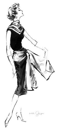 Gloria c. 1957 Fashion Illustration $75-295 vintage fashion