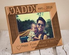 Personalized Dad Picture Frame  Happy First Fathers