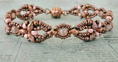 If you have been on the hunt for a gorgeous DIY gift, then you need to check out this stunning Elinor Beaded Bracelet. The gentle pastel pinks mixed with the rustic color beads makes this handmade bracelet elegantly gorgeous. Beaded Bracelets Tutorial, Beaded Bracelet Patterns, Jewelry Patterns, Handmade Bracelets, Beaded Earrings, Beaded Jewelry, Diy Bracelet, Jewelry Necklaces, Jewelry Box