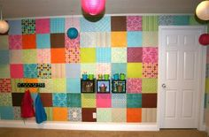 Paper covered wall from $13 scrapbook pad!