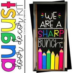 "This Door Decoration Set is perfect for back to school for all grade levels; pre-k, grade classrooms. This fun, bright printable ""We Are a Sharp Bunch"" includes letters, editable pencils and crayons, tips Back To School Bulletin Boards, Middle School Classroom, First Grade Classroom, Preschool Door Decorations, School Decorations, Classroom Welcome, Classroom Door, Classroom Organization, Classroom Ideas"