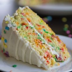Recipe with video instructions: For when vanilla needs a slight makeover. Ingredients: ½ cup (110 g) unsalted butter, softened, 1 ½ cups (300 g) granulated sugar, 3 large eggs, 1 tsp vanilla extract , 3 ½ tbsp baking powder, 1 tsp salt , 2 ¼ cups (285 g) all-purpose flour , 1 ¼ cups (300 mL) milk (or buttermilk), 2/3 cup (160 mL) rainbow sprinkles*, ½ cup (110 g) unsalted butter, softened, 4 cups (480 g) confectioners' (icing) sugar, 1-2 tsp vanilla extract , ¼ cup (60 mL) milk, sprinkles…
