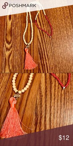 "Long Coral & Cream Tassel Necklace Like new - might be! It's hung in my jewelry box and I never wore. Very long. Around 35"" circumference. Tassel is about 3"". Reasonable offers accepted via offer button only. No trades. I strive to maintain good feedback. I'm a real person. If for any reason you are unhappy with your purchase, please contact me. Jewelry Necklaces"