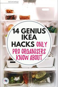 14 Genius IKEA Hacks To finally get organized like a pro! Featuring full length tutorials / organization hacks only a pro organizer knows! Ikea Cupboards, Fridge Storage, Ikea Organization Hacks, Ikea Hack Storage, Organizing Tips, Organising, Closet Organization, Under Stairs Storage Ikea