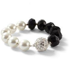 Glass Pearl/Jet Fireball Bracelet ($38) ❤ liked on Polyvore