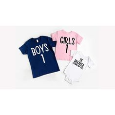 Sibling shirts for 3, 3rd Pregnancy Announcement Shirts for kids, Sibling Shirts. Boys 1 Girls 1 and The Tie Breaker | ABadInfluence New Sibling, Sibling Shirts, Sister Shirts, 3rd Pregnancy Announcement, Boys Ties, 1 Girl, New Baby Products, Heat Press, Bodysuits