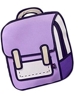 D.Catman 2D Solid Cartoon Schoolbag Creative Fashion Shoulders Backpack (Purple) ❤ ...