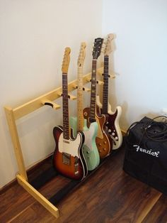 Diy Guitar Stand, Wooden Guitar Stand, Basement Studio, Collection Displays, Music Studio Room, Displaying Collections, Puppets, Wood Projects, Woodworking