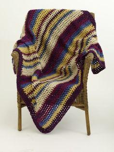 Image of Crochet Mesh And Stripe Throw