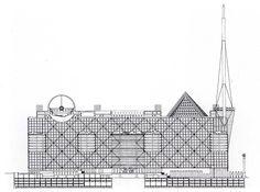Arata Isozaki, New Tokyo City Hall, Section, Shinjuku, Tokyo, 1985-1986