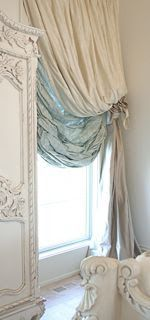 The Adventures of Elizabeth  vintage lace  White armoire or jewelry box with boiserie, heavily gathered tied-back creamy white drapery with pale blue underskirt