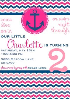 Pink and Navy Chevron Nautical Birthday Invitation - DIY DOWNLOADABLE FILE on Etsy, $12.00