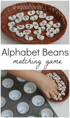 Community Helpers Preschool Discover Matching Alphabet Beans Literacy Game - The Imagination Tree Make an alphabet beans literacy game and an ongoing resource to use in lots of activities together! Playful literacy fun and learning for preschoolers! Literacy Games, Letter Activities, Preschool Learning Activities, Kindergarten Literacy, Toddler Activities, Montessori Preschool, Learning Games For Preschoolers, Preschool Letters, Teaching Toddlers Letters