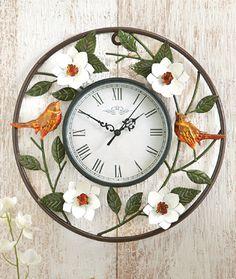 Birds and Magnolia Wall Clock