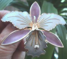 LARGE Norwegian Silver & Enamel Orchid Brooch - Aksel Holmsen Norway
