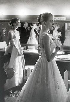 Love their dresses--Audrey Hepburn and Grace Kelly at the Academy Awards