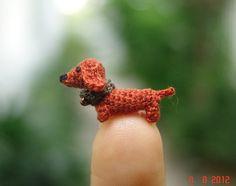 miniature art grey mouse micro amigurumi crochet by LamLinh