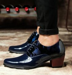 Men/'s Pointed Toe Lace Up Cuban Heel Wedding Party Club Formal Dress Shoes