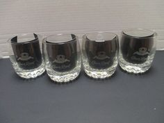 4 Crown Royal Etched Logo On The Rocks Low Ball High Ball Old Fashioned Glasses
