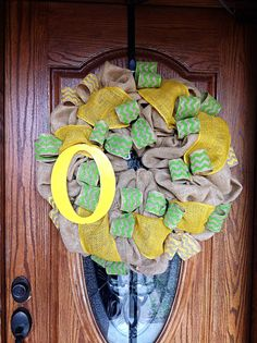 Awesome University of Oregon Ducks Tan Burlap Wreath with Green and Yellow Chevron Ribbon and Yellow Oregon O.