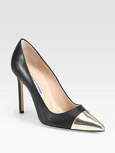Perfect shiny pointy #shoeoftheday. Manolo Blahnik - Bipunta Leather Pumps - Saks.com